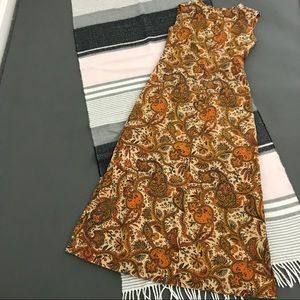 vtg vintage 60s 70s long brown paisley   dress